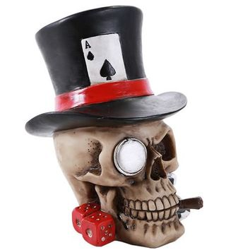 Poker Skull Ace Spades Top Hat Casino Dice Poker Game Skull Gambler Figurine