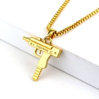 Fashion Hip Hop Jewelry Engraved Letter Gun Necklace 65cm Long Chain Supreme Quality Pendant Necklaces