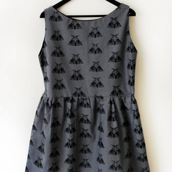 Grey Moth Print Dress