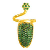 Olive Green on Gold Pave Crystal Nail Ring *Limited Quantities*