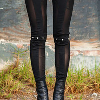 Spiked Knee Leggings in Black