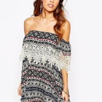 Kiss The Sky Off Shoulder Dress With Lace Trim In Aztec Print