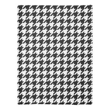 Houndstooth Pattern Black and White Duvet Cover