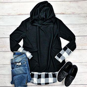 Black with White Plaid Accents Hoodie