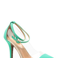 Glaze Mint Vinyl Pointed Toe Single Sole Heels