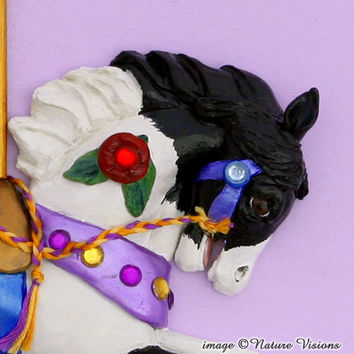 Pinto Carousel Horse Wall Hanging Polymer Clay by NatureVisions