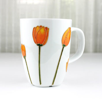 Hand Painted Porcelain Cup, Coffee Mug, Tea Cup, Tea Mug, Orange & Yellow Tulips Design