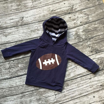 Fall free shipping girls football season clothing baby girls boutique hoodie children navy blue outfits football hoodie top