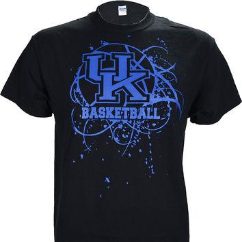 University of Kentucky Splatter Ball on a Black Short Sleeve T Shirt