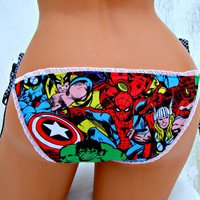 Marvel Comic Hero Avengers geek side tie bikini Panties Lingerie your size