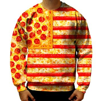 United States Flag Pizza Sweatshirt