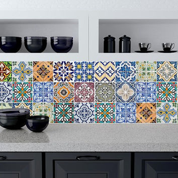 Tile decals Stickers - Tile Decals - Tile decals for Kitchen or Bathroom - PACK OF 20 - Mexico, Morocco, Portugal, Spain, Mosaic #5