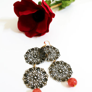 Hanging earrings - Dark gold and Rose, Big unique earrings, Contemporary earrings, Romantic earrings, Pretty stylish earrings