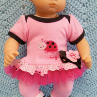 "AMERICAN GIRL Bitty Baby Clothes ""Love Bug"" (15 inch) doll outfit  dress, leggings, booties/ socks, and headband hair clip lady bug"