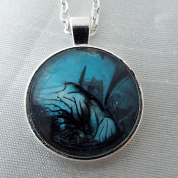 "Necklace, Free shipping, Handcrafted, Affordable, Jewelry, ""Haunted Hill"", Blue, Design,Black,Horror, Scary,  Handmade, Silver, Gift"