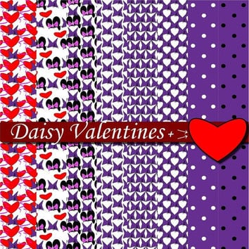 35 % OFF PLUS GIFTS Daisy Purple Valentines Printable Hearts Scrapbooking Birthday Party Invitations Background Paper Goods minnie mouse clu