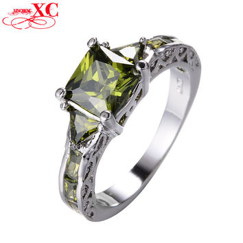 Elegant Peridot Rings For Female Wedding Ring Women Men Fashion White Gold Filled Zircon Crystal Engagement Band Jewelry RW1433