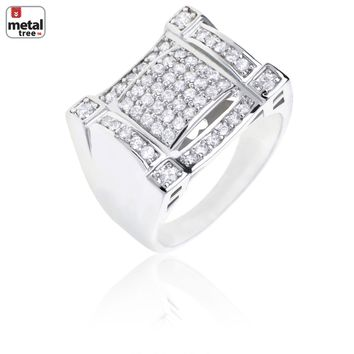 Jewelry Kay style Men's Hip Hop Double Iced Out Brass RH Plated Hand Set CZ Square Pinky Ring