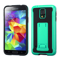 MYBAT Leather Grip PU KickStand Case for Galaxy S5 - Mint Green/Black