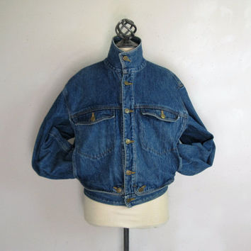Vintage 1990s Girbaud Jean Jacket Mens Marithe et Francois Girbaud Blue Cotton Denim 90s Jacket Small