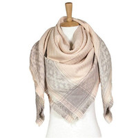 Women's Pink Aztec Print on Edge Blanket Scarf