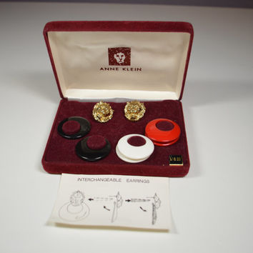 Vintage ANNE KLEIN Interchangeable Earrings Lion's Head Pierced Black White Red Interchangeable Hoops Goldtone Lion's Head In Box