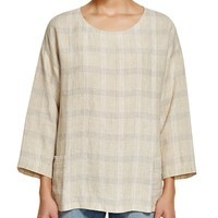 Eileen FisherPlaid Bracelet Sleeve Top