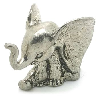 New Baby Sitting Elephant Giant Ears  Pewter Figurine Lead Free