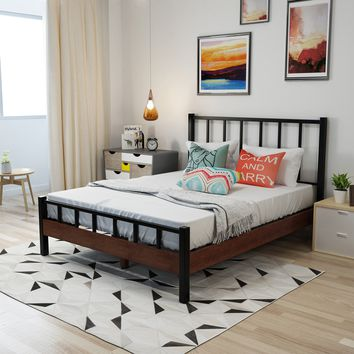 Hamih Industrial Walnut Finished Acacia Wood Queen Size Bed