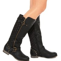 Black Quilted Studded Boots