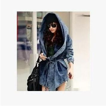 Women Denim Jeans Coat Jacket New Women Jeans Coats Vintage Long Sleeve Slim Hoody Plus Size Hooded Coat Roupas Femininos