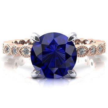 Lizette Round Blue Sapphire 4 Claw Prong 3/4 Eternity Milgrain Diamond Shank Engagement Ring