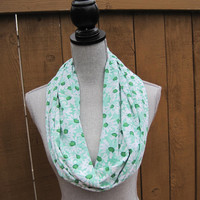 Infinity scarf, tube scarf, eternity scarf, loop scarf, long scarf in a green and white knit fabric