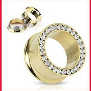 ac DCCKO2Q NEW arrival Fashion ear plug(F78)Free shipping mix(5-16mm)140pcs/lot stainless steel crystal body jewelry gold ear flesh tunnel
