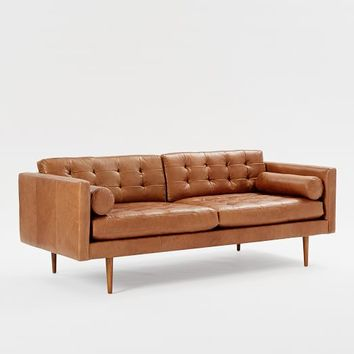Monroe Mid-Century Sofa, Leather, Charcoal