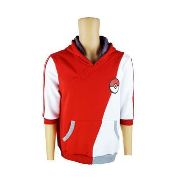 Pokemon Go Trainer Red White Cosplay Costume Hoodie Hoody Jacket Coat fleece