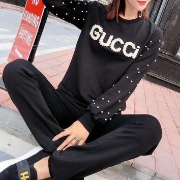 ONETOW GUCCI letter set beads long sleeves beads + elastic waist trousers casual sports suit