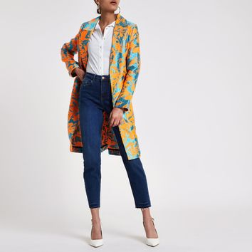 Orange jacquard open front coat - Coats - Coats & Jackets - women