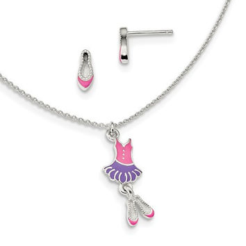 Sterling Silver Polished Enameled Ballerina 14in Necklace & Earring Set