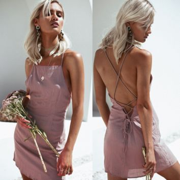 Solid Color Backless Pack Hip Dress