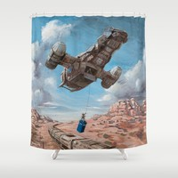 The Time Job - Firefly + Doctor Who  Shower Curtain by Sumrow