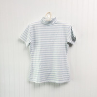 Gwena top // 1990s baby blue & white striped stretch fit club kid grunge blouse // short sleeves slinky // size M