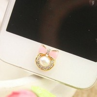 OOOUSE Brilliant Pearl Bow Tie Iphone Home Return Keys Buttons Sticker For iPhone 4S iPhone 5 iPod Touch iPad Repair Fix Replace Replacement(Blue or Pink)