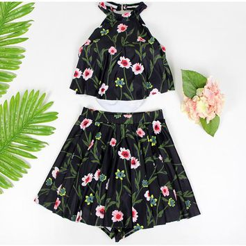 New Style Two Piece Swimsuit Flower Print Sexy Women Swimwear Bathing Costume Vacation Slim Swimming Clothing For Teen Girls