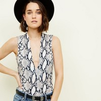 Stone Snake Print Plunge Neck Party Bodysuit | New Look