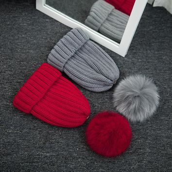 Fashion 7 colors wool hat knitted beanies cap thick female cap real fox fur pom poms ball warm winter hat for women girls