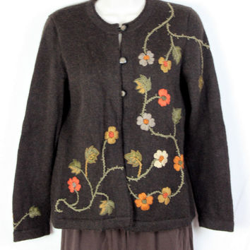 Alpacas Best S size Baby Alpaca Cardigan Sweater Brown Embroidered Florals Soft