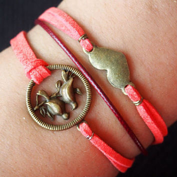 Love Bird Bracelet & Heart Charm Bracelet in Bronze-Red Wax Cords and Imitation Leather Bracelet-Best Gift Personalized Friendship Jewelry
