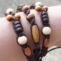 Thick Cuff  Bracelet with Wood Beads and Unakite on Dark Brown Hemp