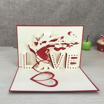 "1pcs Heart & Tree Laser Cut Origami Paper 3D Pop UP Cards With ""LOVE"" Greeting Cards Post Cards Wedding Valentine's Day gifts"